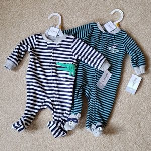 New Carters set of 2 Newborn footed sleepers